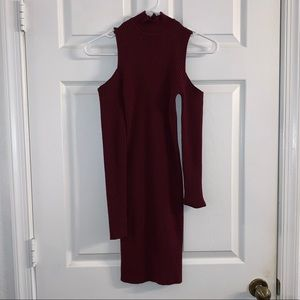 Forever 21 Maroon Cut Shoulder Dress- Size S